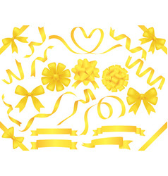 a set of assorted yellow ribbons vector image