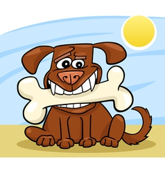 Cartoon Dog with big bone vector image vector image