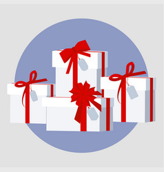 pile of wrapped gift vector image