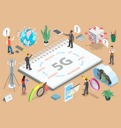 3d isometric flat concept 5g high vector