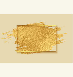 Abstract golden foil brush stroke frame design vector