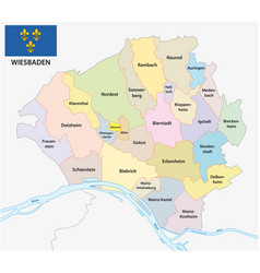 administrative map state capital wiesbaden hesse vector image