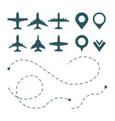 airplane symbols avia transport pictograms route vector image