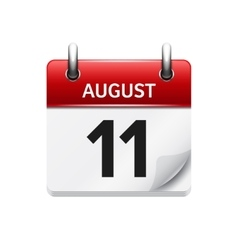 August 11 flat daily calendar icon Date vector