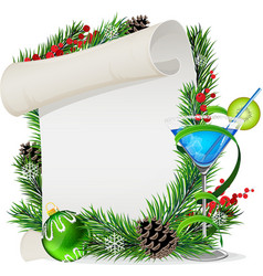 Blue cocktail scroll and Christmas wreath vector