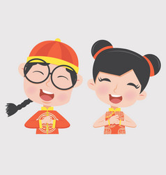 boy and girl in chinese children costume vector image