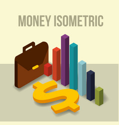 business briefcase diagram and dollar money vector image