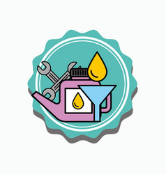 Car service oil canister funnel and tools vector