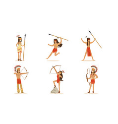 cartoon indians with bows and spears set of vector image