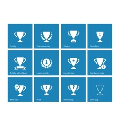 Champions cup icons on blue background vector