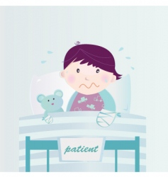 child in hospital cartoon vector image