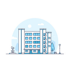 city building - modern thin line design style vector image