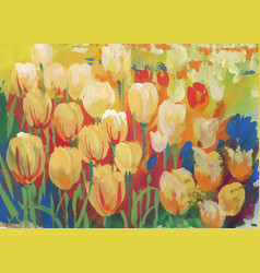 Closeup of colorful field of tulips vector