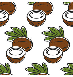 coconut thailand nut seamless pattern exotic food vector image