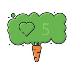 concept vegan carrot and social network like icon vector image
