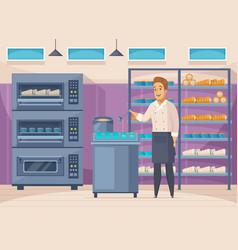 Confectionery factory cartoon composition vector