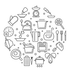 cooking foods and kitchen tools thin line vector image