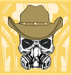 cowboy skull wearing respiration vector image