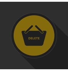 Dark gray and yellow icon - shopping basket delete vector