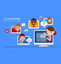 E-learning online education concept online vector