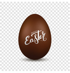 easter egg 3d chocolate brown egg hand drawn vector image