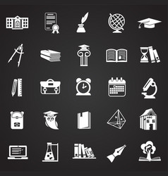 education and stydying set on black background vector image