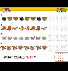 educational finish the pattern game with pets vector image
