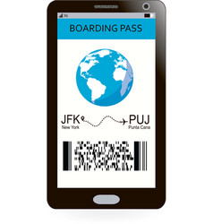 electronic boarding pass on smartphone screen vector image