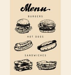 fast food menu in burgers hot dogs vector image