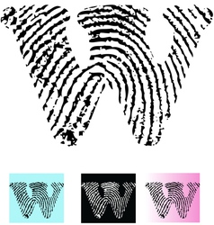 Fingerprint Alphabet Letter W vector image