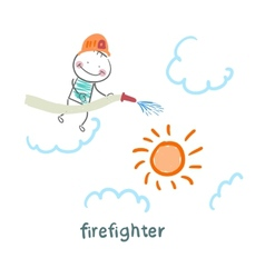 firefighter puts out the sun vector image