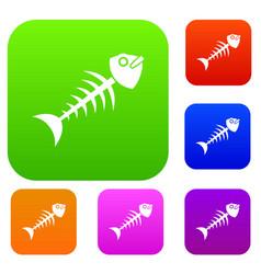 fish bone set color collection vector image