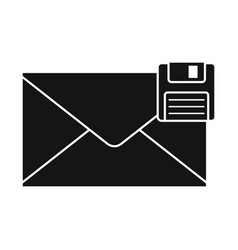 Flat black mail letter icon vector