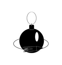 Flat icon in black and white style Christmas ball vector