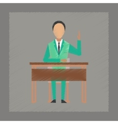 flat shading style icon pupil at school desk vector image