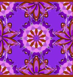 flowers on violet brown and pink colors seamless vector image