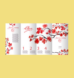 four pages brochure with cherry blossom or sakura vector image