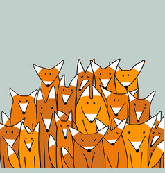 Foxes big family sketch for your design vector