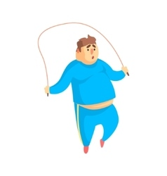 Funny Chubby Man Character Doing Gym Workout vector image