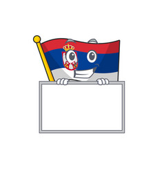 Grinning with board flag serbia isolated with the vector