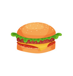 hamburger with cheese lettuce meat patty and bun vector image