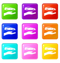 Hand and car set 9 vector