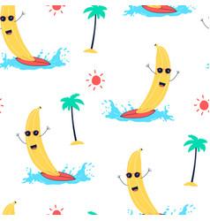 hand drawing surfer banana pattern seamless vector image