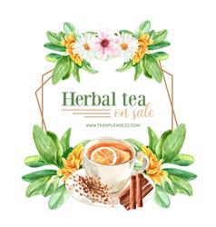 Herbal tea wreath design with sage cinnamon vector