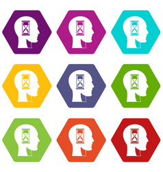 Hourglass in head icon set color hexahedron vector