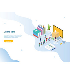 Isometric 3d online vote concept with people vector
