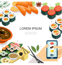 Isometric colorful japanese food concept vector