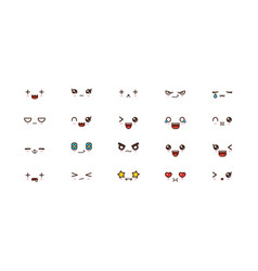 kawaii cute faces smile emoticons japanese emoji vector image