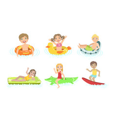 kids floating on inflatable toys in pool children vector image