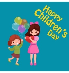 kids playing greeting card vector image vector image